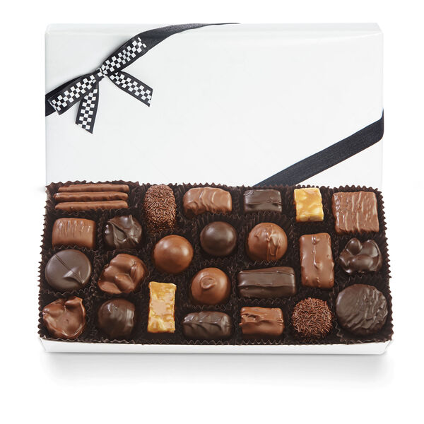 Assorted Chocolates with Black & White Bow