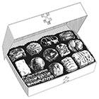 Open box of chocolates illustration