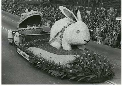 See's 15-foot Easter Bunny float in the 1949 Rose Bowl Parade